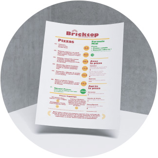 La carte de Bricktop Pizza