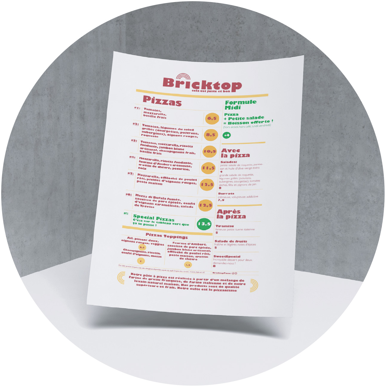 Menu Bricktop Pizza